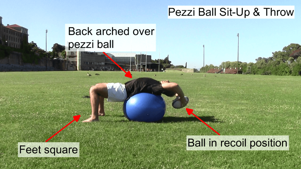 Pezzi Ball Sit Up & Throw Side View 1
