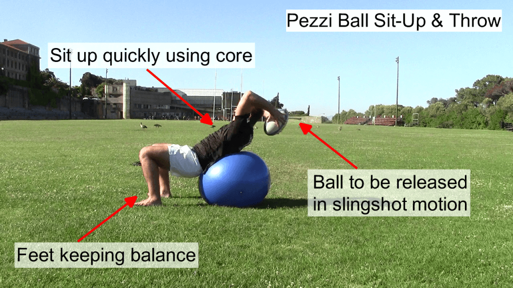 Pezzi Ball Sit Up & Throw Side View 2
